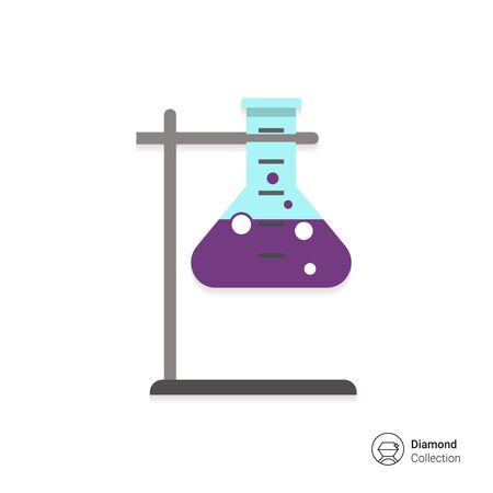 chemical laboratory: Icon of chemical laboratory flask with bubbling liquid in holder Illustration