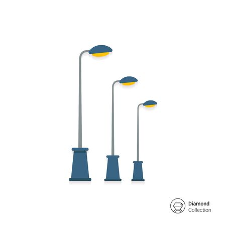 row: Icon of street lamps standing in row