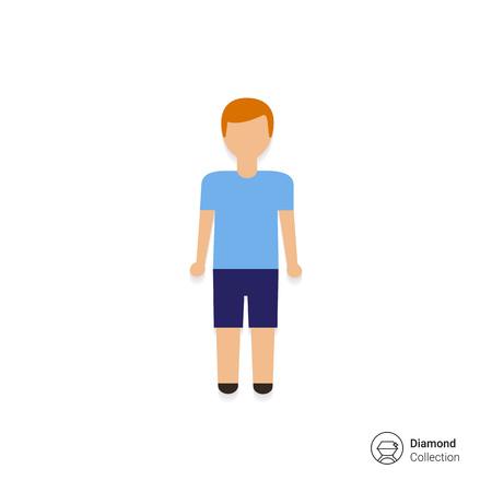 shorts: Icon of teenage boy wearing blue t-shirt and shorts Illustration