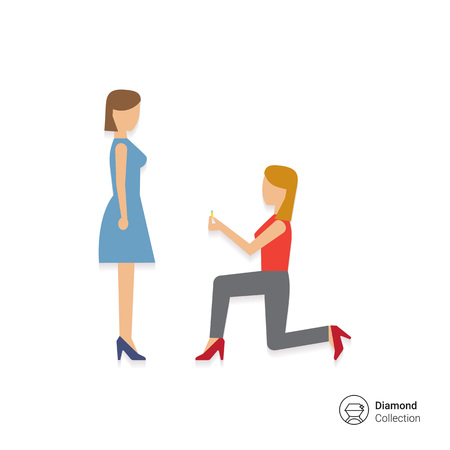 medium group of people: Icon of woman standing on her knee in front of woman and giving ring