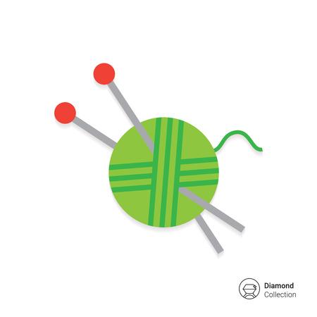 knitting needles: Icon of green yarn ball and knitting needles