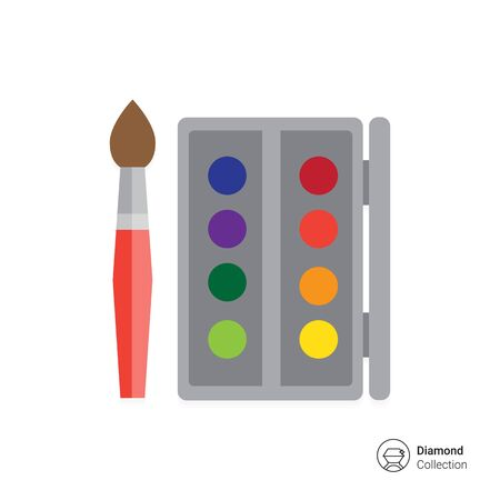 Icon of open watercolors box and brush Illustration