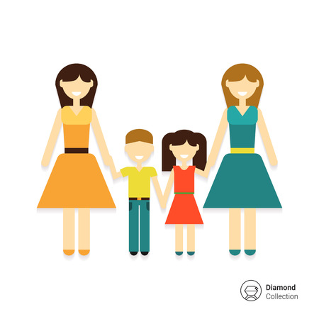 gay family: Icon of gay family consisting of two women and two children
