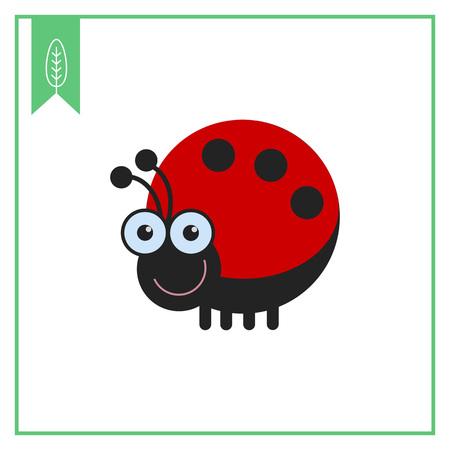 ladybird: Vector icon of cute smiling cartoon ladybird