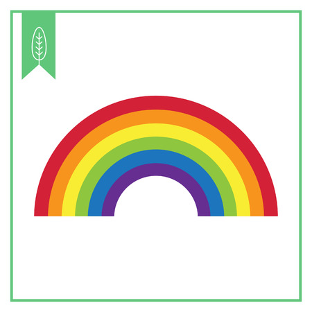rainbow colours: Vector icon of rainbow curve consisting of six colors
