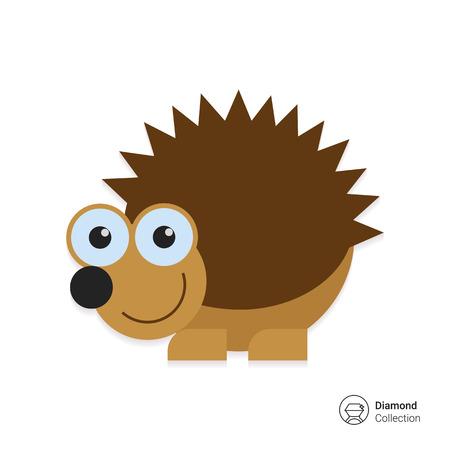 cartoon hedgehog: Vector icon of cute smiling cartoon hedgehog