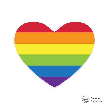 hearts: Vector icon of rainbow heart, lgbt community sign