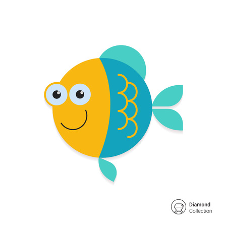 peces caricatura: Icono del vector de los pescados lindos sonriente de dibujos animados