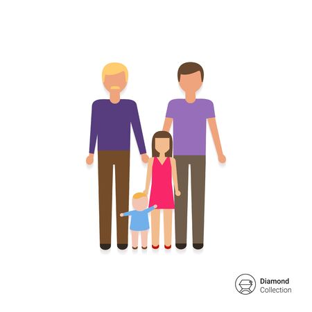 nontraditional: Icon of gay family consisting of two men and two children