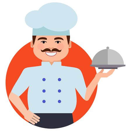 occupation cartoon: Male character, portrait of smiling male chef with moustache, holding dish closed with cloche
