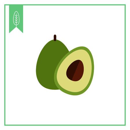 Vector icon of avocado and cut avocado half