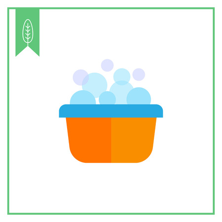 wash basin: Vector icon of yellow plastic basin with foam and bubbles Illustration