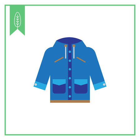 raincoat: Vector icon of blue raincoat with hood and pockets Illustration