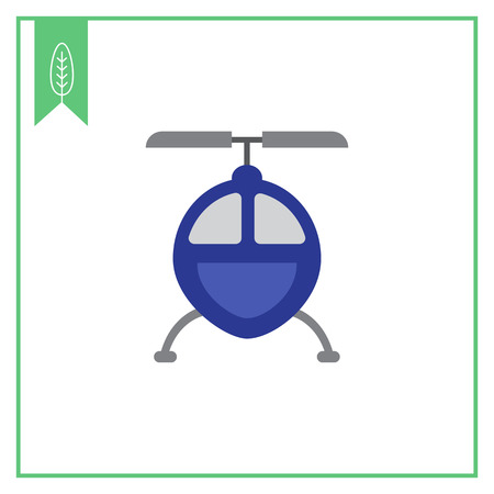 front view: Vector icon of blue helicopter icon, front view
