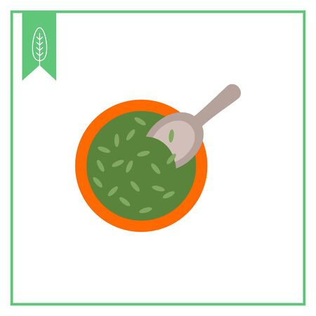 horticulture: Vector icon of bowl with seeds and scoop Illustration