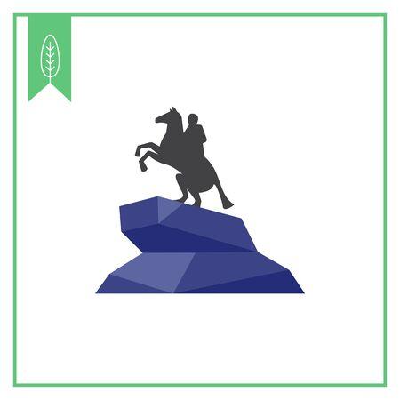 horseman: Icona vettore multicolore di Cavaliere di bronzo statua