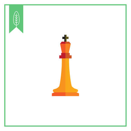 tactic: Multicolored vector icon of orange chess king