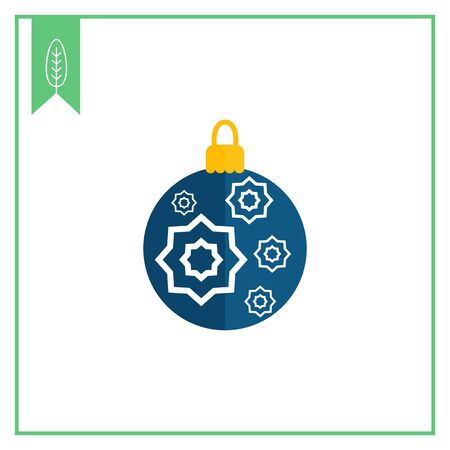 blue ball: Vector icon of blue Christmas ball with white star ornament