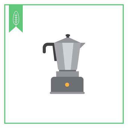 with coffee maker: Vector icon of espresso coffee maker with metal jar