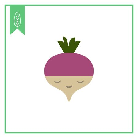 crunchy: Vector icon of fresh radish with green sprouts