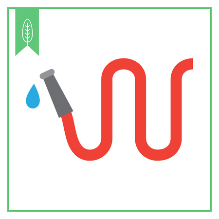 garden hose: Vector icon of red garden hose with water drop