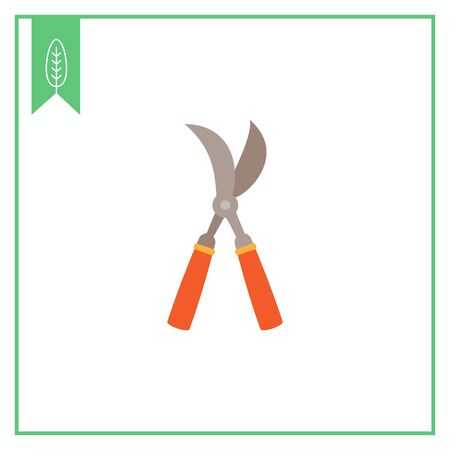 pruning: Vector icon of garden pruner with red handles Illustration
