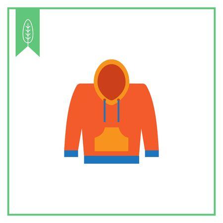 sudadera: Icono del vector de amarillo y azul sudadera con capucha Vectores