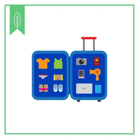 hair drier: Vector icon of open travel suitcase with various items inside