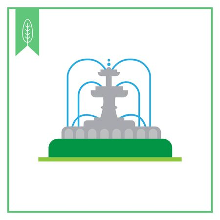 Vector icon of park fountain with water streams Illustration