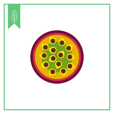 Vector icon of cut passion fruit half Illustration