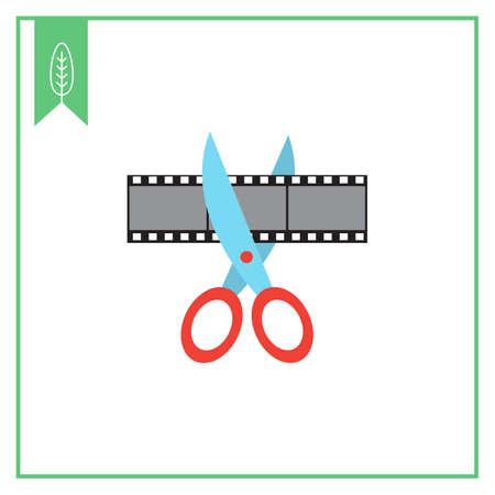 scissors cutting: Vector icon of scissors cutting film shot
