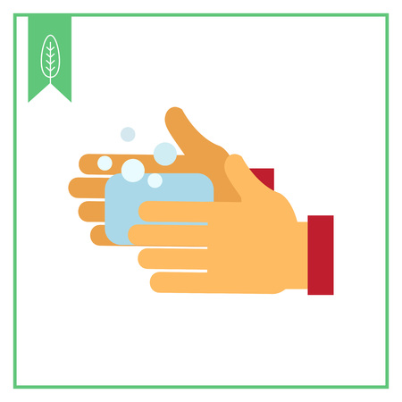 cleansing: Vector icon of human hands being washed with soap Illustration