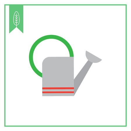 bailer: Vector icon of grey metal watering can Illustration