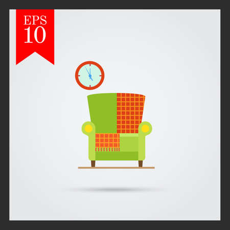 livingroom: Vector icon of light green armchair with checkered rug and wall clock