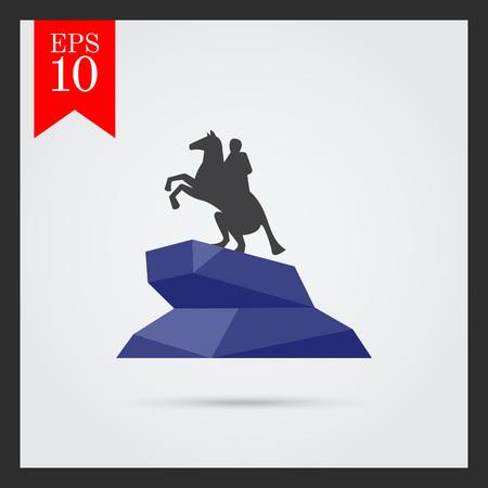 uomo a cavallo: Icona vettore multicolore di Cavaliere di bronzo statua