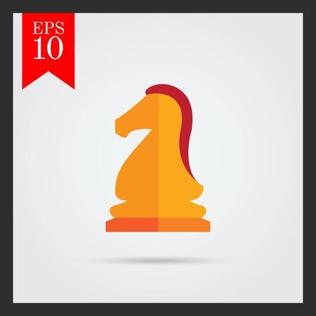 tactic: Multicolored vector icon of orange chess knight Illustration
