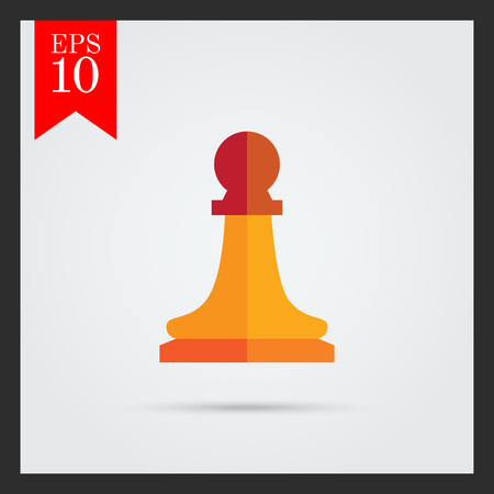pawn: Multicolored vector icon of orange chess pawn Illustration
