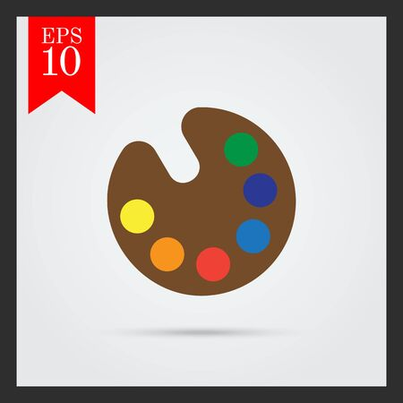 samples: Vector icon of drawing palette with various paint samples Illustration