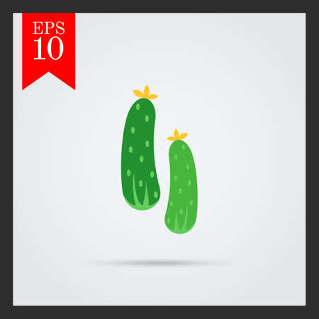 cucumbers: Vector icon of two fresh green cucumbers