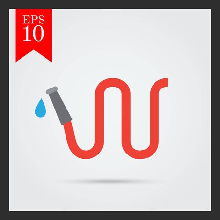 gardening hoses: Vector icon of red garden hose with water drop
