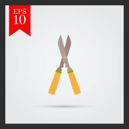 pruner: Vector icon of garden pruner with wooden handles