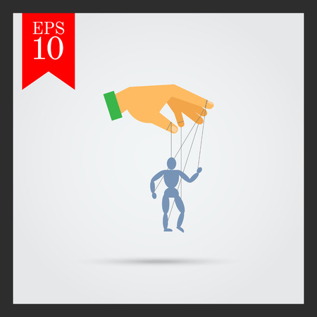 manipulating: Vector icon of human hand with marionette puppet Illustration