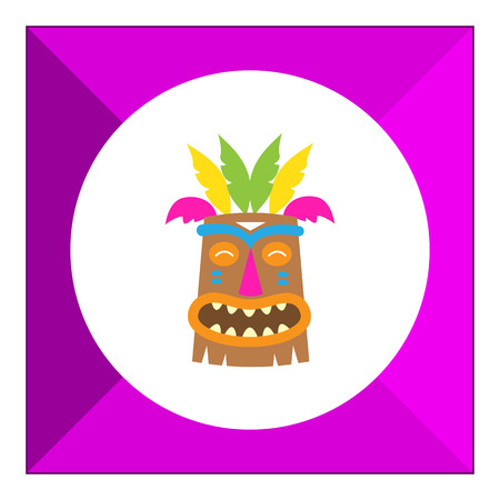 aborigine: Vector icon of African wooden tribal mask Illustration