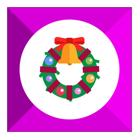 door bell: Vector icon of Christmas wreath decorated with bell