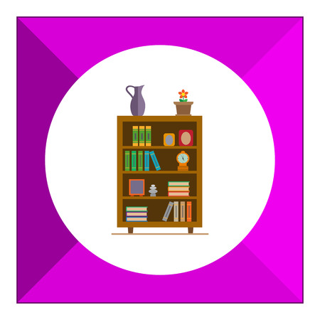 livingroom: Vector icon of book shelves decorated with potted flower, clock and photo frames Illustration