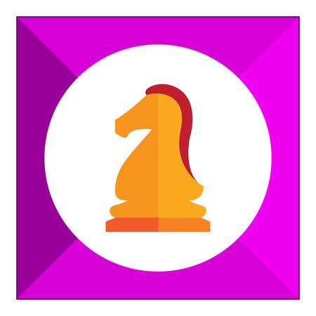 chess knight: Multicolored vector icon of orange chess knight Vettoriali