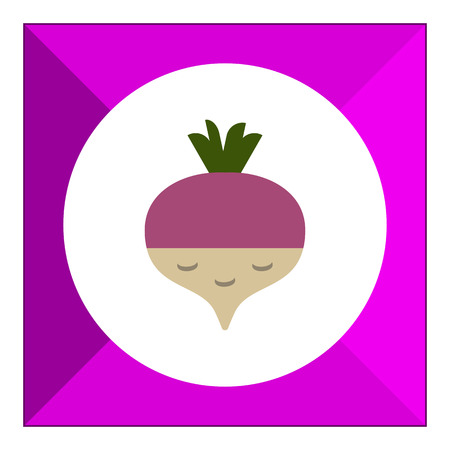 root crop: Vector icon of fresh radish with green sprouts