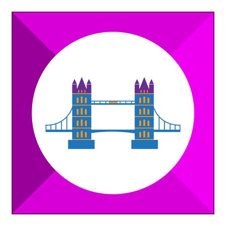 famous: Multicolored vector icon of famous London Bridge