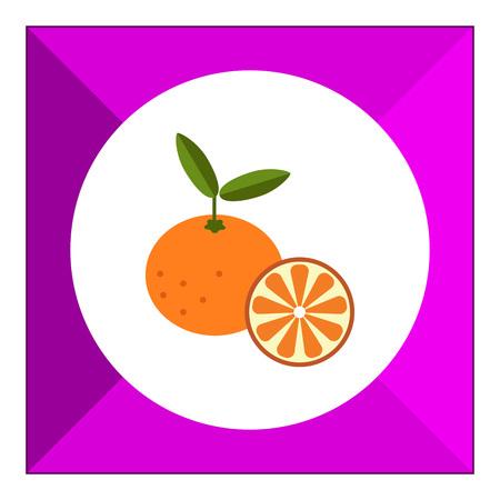 tangerine: Vector icon of tangerine and cut tangerine half