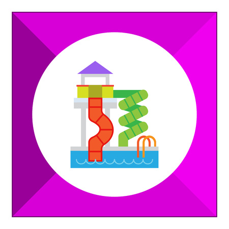 slides: Vector icon of waterpark with pool and slides